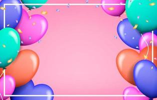 Realistic Love Balloons Valentine's Day Frame vector