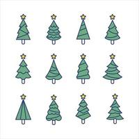 Christmas Tree Line Concept Collection vector