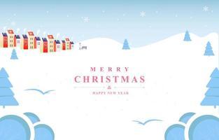 White Winter Christmas City Minimalist Background vector