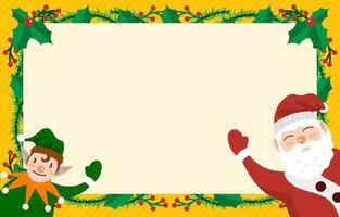 Cute Santa and Elf Celebrate Christmas Background