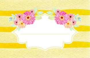 Trendy Gold Stripes Watercolor Flower Frame Background vector