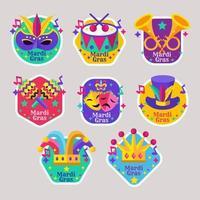 Colourful of Mardi Gras label vector