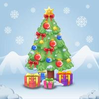 ilustración de árbol de navidad de dibujos animados vector