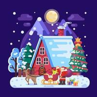 Christmas Night at A House in the Snow vector