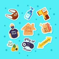 Set of New Normal Cartoon Sticker Collection vector