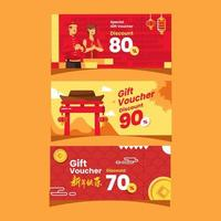 Set of Chinese New Year Gift Voucher Collection