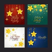 hermosa tarjeta de felicitación con tema de estrellas vector