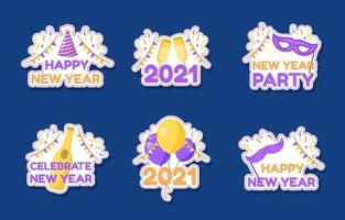 Colorful Happy New Year 2021 Sticker Collection vector