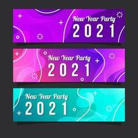 Gradient Colorful New Year Party 2021 Banner Collection