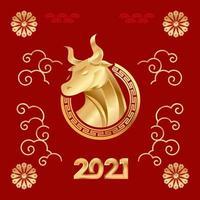 año nuevo chino buey dorado en fondo rojo vector