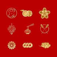 paquete de pegatinas de año nuevo chino buey