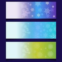 conjunto de hermosas banderas de cristal de copos de nieve vector