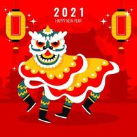 Chinese Lion Dance Background vector