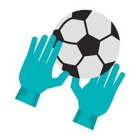 Soccer golakeeper gloves with ball sport cartoon vector