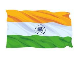 bandera de india composición de dibujos animados vector