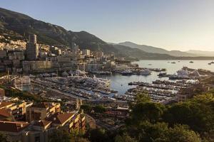 View on Monte Carlo's harbor in Monaco in the morning