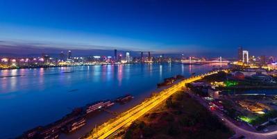 Gan river on both sides at night