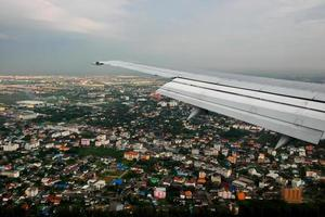 View of jet plane wing 45