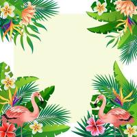 Beautiful Flower Background with Flamingoes