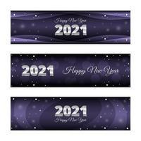 pancartas de año nuevo 2021 púrpura plateado brillante vector