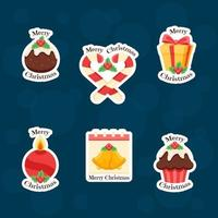 Colourful Christmas Items Sticker Collection vector