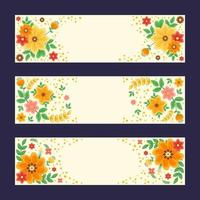 Colourful and Beautiful Flower Banner Set vector