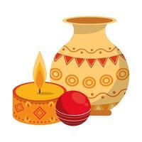 Ugadi Indian celebration emblems cartoons vector