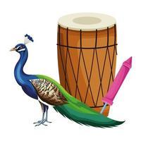 Drum Mridangam and peacock vector