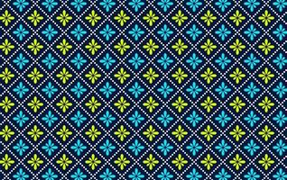 Seamless blue and yellow color flower pattern vector