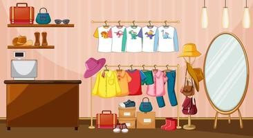 Clothes hanging on clothes rack with accessories in the room scene vector