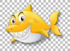 tiburón sonriente personaje de dibujos animados sobre fondo transparente vector