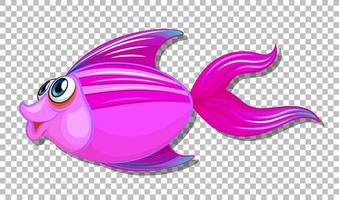 Cute fish with big eyes cartoon character on transparent background