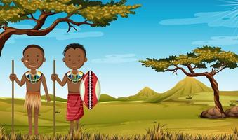 Ethnic people of African tribes in traditional clothing in nature background vector