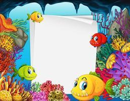 Banner de papel en blanco con peces exóticos y elementos de la naturaleza submarina en el fondo submarino