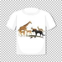 Wild animal group design on t-shirt isolated on transparent background