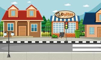 Escena del lado de la calle con escena de casa y cafetería. vector