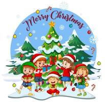 Merry Christmas font with children wearing Christmas costume vector