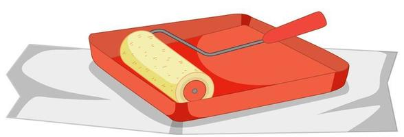rodillo de pintura con bandeja de pintura para trabajos de pintura vector