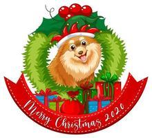 Feliz Navidad 2020 banner de fuente con perro chihuahua sobre fondo blanco.
