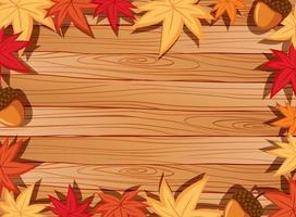 Vista superior de la mesa de madera en blanco con hojas en elementos de la temporada de otoño