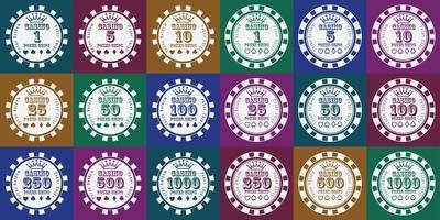 Poker chips set white on color vector