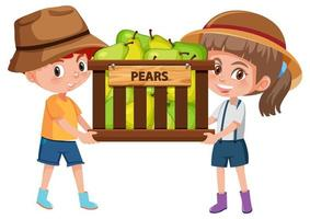 Children boy and girl with fruits or vegetables on white background vector