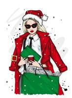 Beautiful girl in a Santa hat vector