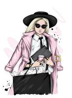 Young woman in stylish clothes vector