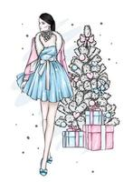 Young woman in stylish clothes at Christmas vector