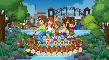 escena con muchos niños en bicicleta tándem en el parque vector