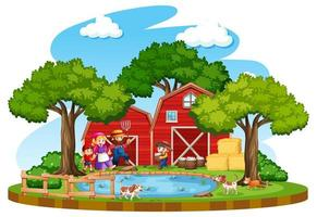 Farm with red barn and windmill on white background vector