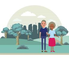 personaje de dibujos animados de avatar de personas mayores vector