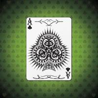 Ace of clubs poker card green background vector