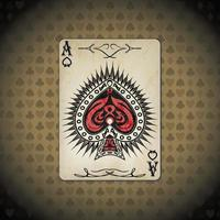 Ace of spades, poker cards old look background vector